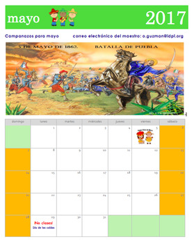 Calendario de mayo 2017 en español. May 2017 Calendar in Spanish.