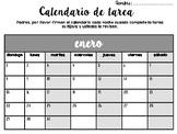 Calendario de tarea