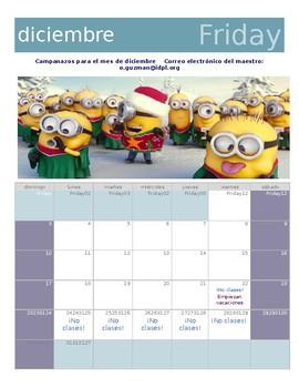 Calendario diciembre 2017 en español. 2017 december calendar for Spanish class