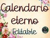 Calendario eterno EDITABLE planificación mensual, anual, evaluación, listas