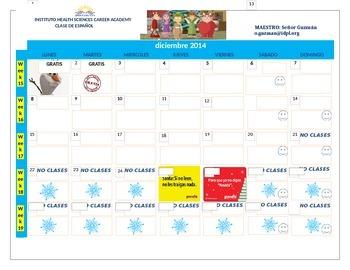 Gratis calendario escolar  | Free Monthly calendar in Spanish!