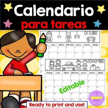 Calendario 2020 Editable Illustrator.Calendario Para Tareas 2019 2020 Editable