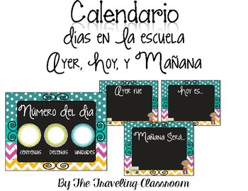 Calendario para su pared! - Editable Chalkboard Spanish Calendar & Birthday Set