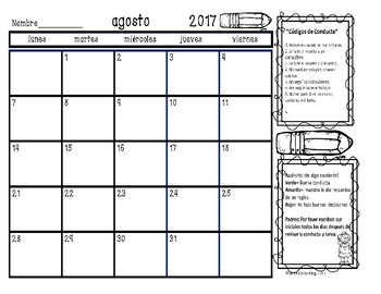 Calendarios para el comportamiento/ Behavior Calendars in Spanish