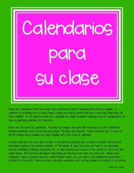 Calendarios para su clase