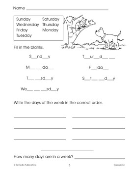Calendars: Beginning Vocabulary Skills