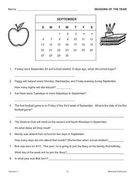 Calendars: Vocabulary Skills