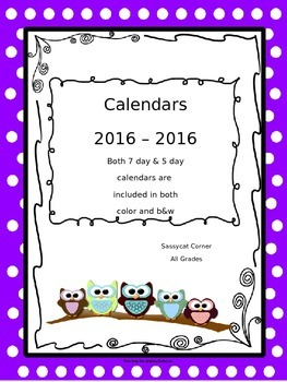 Calendars 2016  - 2017 - Owl Themed in Color and Black & White