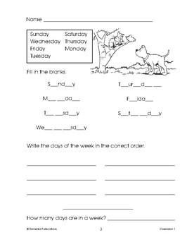 Calendars: Beginning Vocabulary Skills: Part 1