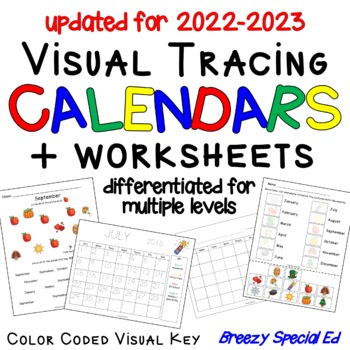 Visual Color Coded Calendars and Calendar Worksheets for S