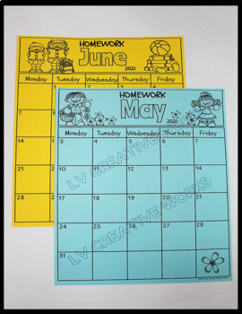 Calendars and Homework Folder Covers
