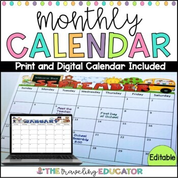 Monthly Calendars for 2017- 2018 and 2018-2019 School Years