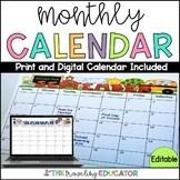 Monthly Calendar Editable Template (2019-2022)