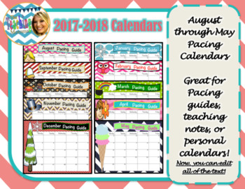 Calendars for 2016-2017 (Easy Edit for Your Purpose!)