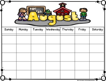 Calendars for Everyone! (Differentiated, w&w/o holiday )