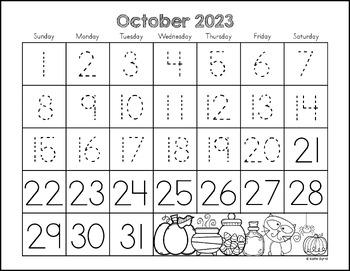 Calendars for Number Writing  ~Perpetual~