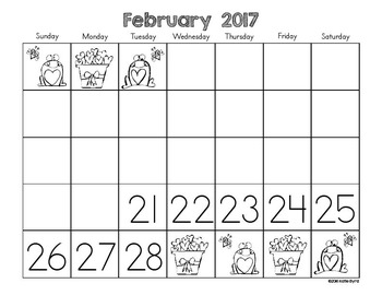 Calendars for Number Writing 2016-2017