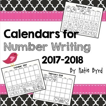 Calendars for Number Writing 2017-2018
