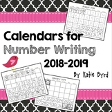 Calendars for Number Writing  2018-2019