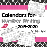 Calendars for Number Writing 2019-2020