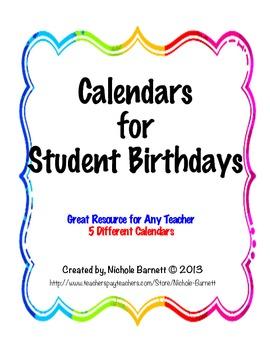 Calendars for Student Birthdays