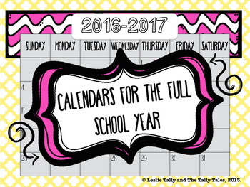 Calendars for the 2016-2017 School Year: Color AND Black & White Versions