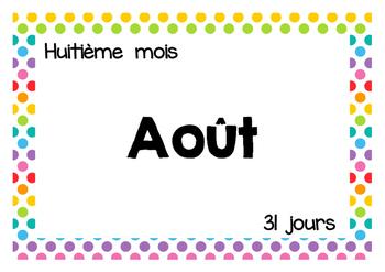 Calendrier - Mois de l'année - Texte - Tableau mureaux - Polka dots multi