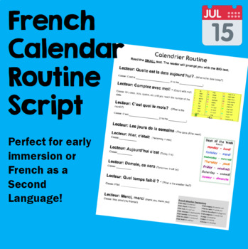 Calendrier Routine Script - Primary French Immersion or Core French