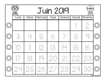 Calendrier à colorier et à tracer (Calendar)