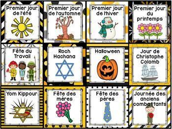 Calendrier de la classe - Ensemble d'étiquettes - Calendar kit - Abeilles