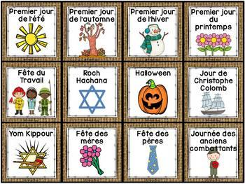Calendrier de la classe - Ensemble d'étiquettes - Calendar kit - Burlap (toile)