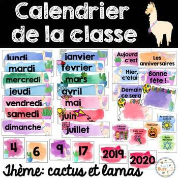 Calendrier de la classe - Ensemble d'étiquettes - Calendar kit - Cactus et lamas