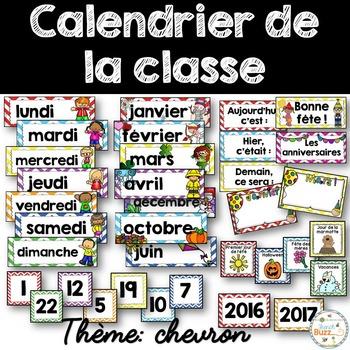 Calendrier de la classe - Ensemble d'étiquettes - Calendar kit - Chevron