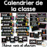 Calendrier de la classe - Ensemble d'étiquettes - Calendar kit - Noir et chevron