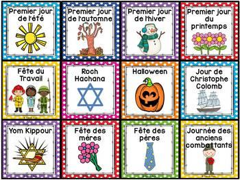 Calendrier de la classe - Ensemble d'étiquettes - Calendar kit - Pois