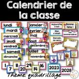 Calendrier de la classe - Ensemble d'étiquettes - Calendar kit - Quadrillage