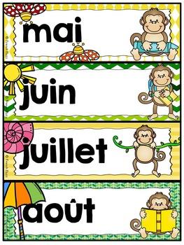 Calendrier de la classe - Ensemble d'étiquettes - Calendar kit - Singes