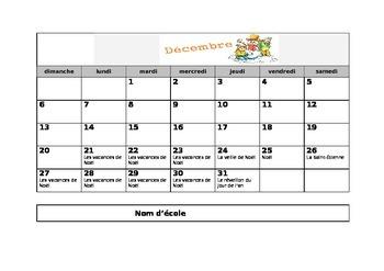 Calendrier de l'année scolaire 2015-2016