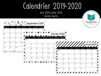 Calendrier Mensuel 2019 2020.Calendrier Mensuel 2019 2020 By Les Passionnees Tpt