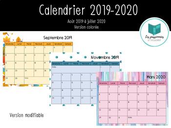 Calendrier Juillet2020.Calendrier Mensuel 2019 2020 Modifiable By Les Passionnees Tpt