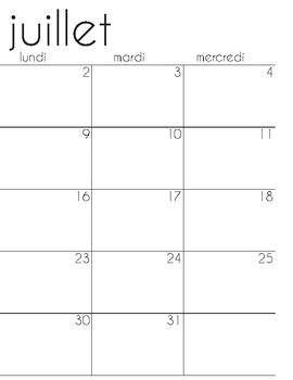 Calendrier scolaire juillet 2018-juin 2019