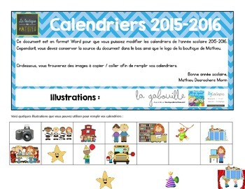 Calendriers du mois pour les parents (Août 2015 à juin 2016)