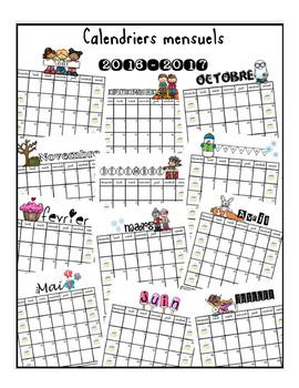Calendriers mensuels couleur