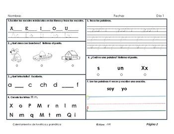 Calentamientos de gramática y fonética