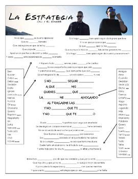 Cali & El Dandee - 'La Estrategia' Cloze Song Sheet! Spanish!