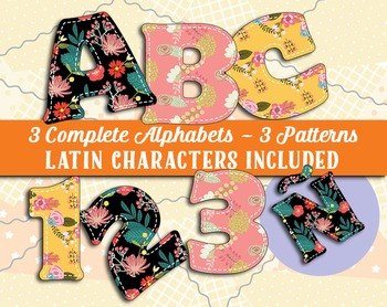 Calico Alphabets - 3 Full Sets, 3 Patterns and colors - Latin Characters