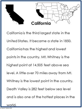 California:  A State Research Brochure Activity