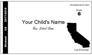California (CA) Homeschool ID Cards for Teachers and Students