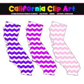 California Clip Art Graphic Set - 12 Rainbow Chevron {Personal + Commercial Use}