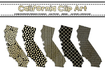 California Clip Art Graphic Set - Gold Glitter Set 1 {Personal + Commercial Use}